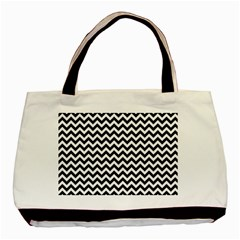 Black And White Zigzag Twin-sided Black Tote Bag