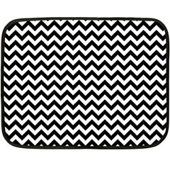 Black And White Zigzag Mini Fleece Blanket (Two Sided)