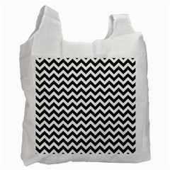 Black And White Zigzag White Reusable Bag (one Side)
