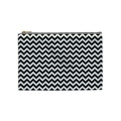 Black And White Zigzag Cosmetic Bag (medium)