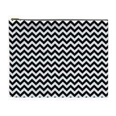 Black And White Zigzag Cosmetic Bag (xl)