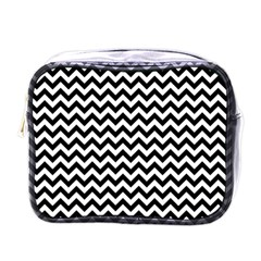 Black And White Zigzag Mini Travel Toiletry Bag (one Side)
