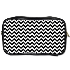 Black And White Zigzag Travel Toiletry Bag (two Sides)