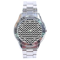 Black And White Zigzag Stainless Steel Watch