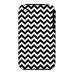 Black And White Zigzag Apple Iphone 3g/3gs Hardshell Case (pc+silicone)