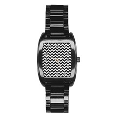 Black And White Zigzag Stainless Steel Barrel Watch