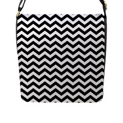 Black And White Zigzag Flap Closure Messenger Bag (Large)