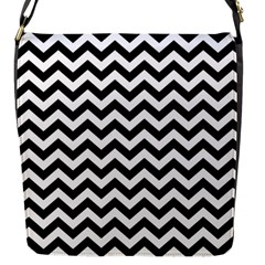 Black And White Zigzag Flap Closure Messenger Bag (small)