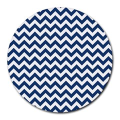 Dark Blue And White Zigzag 8  Mouse Pad (round)