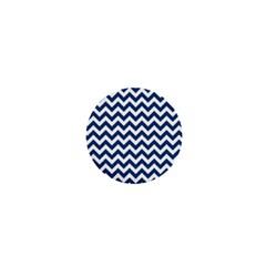 Dark Blue And White Zigzag 1  Mini Button