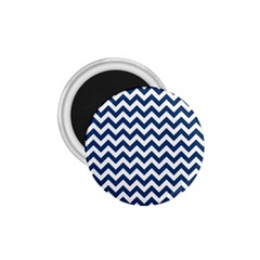 Dark Blue And White Zigzag 1 75  Button Magnet