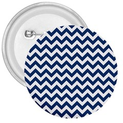 Dark Blue And White Zigzag 3  Button