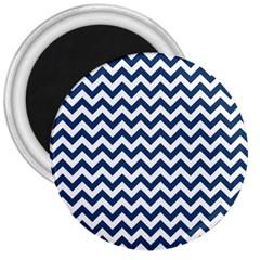 Dark Blue And White Zigzag 3  Button Magnet