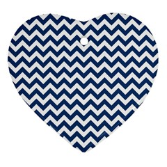 Dark Blue And White Zigzag Heart Ornament