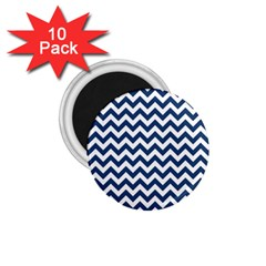 Dark Blue And White Zigzag 1.75  Button Magnet (10 pack)