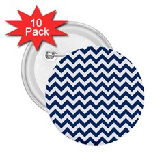 Dark Blue And White Zigzag 2.25  Button (10 pack)
