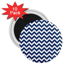 Dark Blue And White Zigzag 2.25  Button Magnet (10 pack)