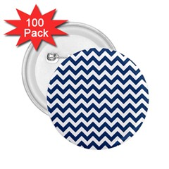 Dark Blue And White Zigzag 2.25  Button (100 pack)