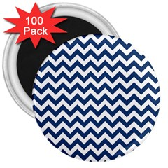 Dark Blue And White Zigzag 3  Button Magnet (100 Pack)