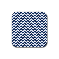 Dark Blue And White Zigzag Drink Coaster (Square)