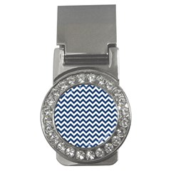 Dark Blue And White Zigzag Money Clip (CZ)