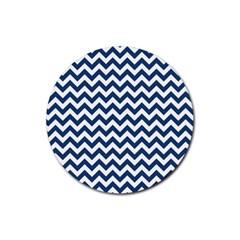 Dark Blue And White Zigzag Drink Coaster (Round)