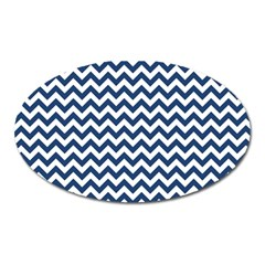 Dark Blue And White Zigzag Magnet (Oval)