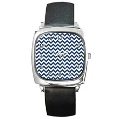 Dark Blue And White Zigzag Square Leather Watch