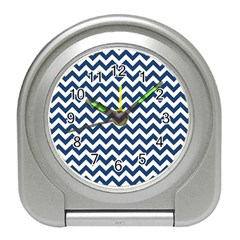 Dark Blue And White Zigzag Desk Alarm Clock