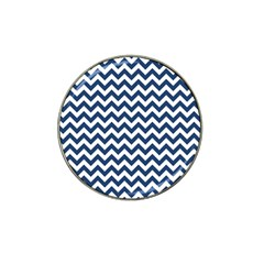 Dark Blue And White Zigzag Golf Ball Marker 4 Pack (for Hat Clip)