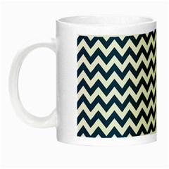 Dark Blue And White Zigzag Glow in the Dark Mug