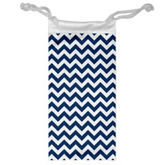 Dark Blue And White Zigzag Jewelry Bag
