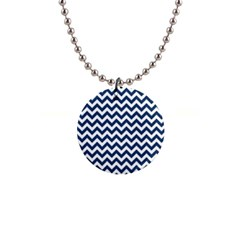 Dark Blue And White Zigzag Button Necklace
