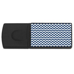 Dark Blue And White Zigzag 4gb Usb Flash Drive (rectangle)