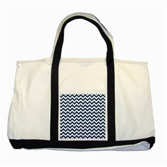 Dark Blue And White Zigzag Two Toned Tote Bag