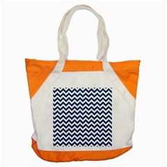 Dark Blue And White Zigzag Accent Tote Bag