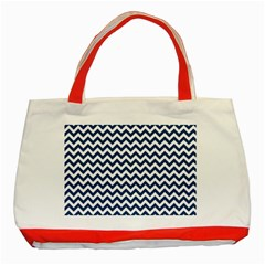 Dark Blue And White Zigzag Classic Tote Bag (Red)
