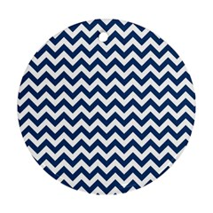 Dark Blue And White Zigzag Round Ornament (two Sides)
