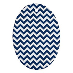 Dark Blue And White Zigzag Oval Ornament (Two Sides)