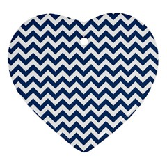 Dark Blue And White Zigzag Heart Ornament (Two Sides)