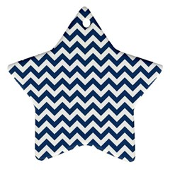 Dark Blue And White Zigzag Star Ornament (Two Sides)