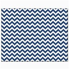 Dark Blue And White Zigzag Canvas 8  X 10  (unframed)