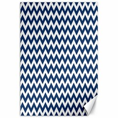 Dark Blue And White Zigzag Canvas 12  x 18  (Unframed)