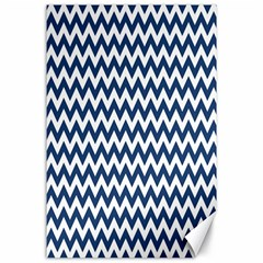 Dark Blue And White Zigzag Canvas 24  X 36  (unframed)