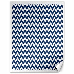 Dark Blue And White Zigzag Canvas 36  X 48  (unframed)