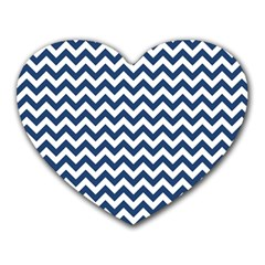 Dark Blue And White Zigzag Mouse Pad (Heart)