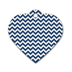 Dark Blue And White Zigzag Dog Tag Heart (Two Sided)