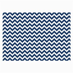 Dark Blue And White Zigzag Glasses Cloth (Large, Two Sided)
