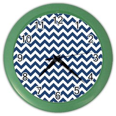 Dark Blue And White Zigzag Wall Clock (color)