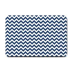 Dark Blue And White Zigzag Small Door Mat